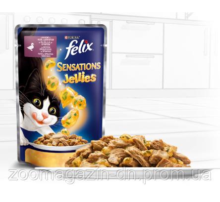 Консервы  Felix Sensations jellie аппетитные кусочки с утка и шпинатом 100 гр