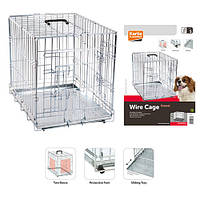 Karlie-Flamingo Wire Cage КАРЛИ-ФЛАМИНГО клетка для собак, двухдверная, с ручкой и выдвижным поддоном , 63х43х49 см.