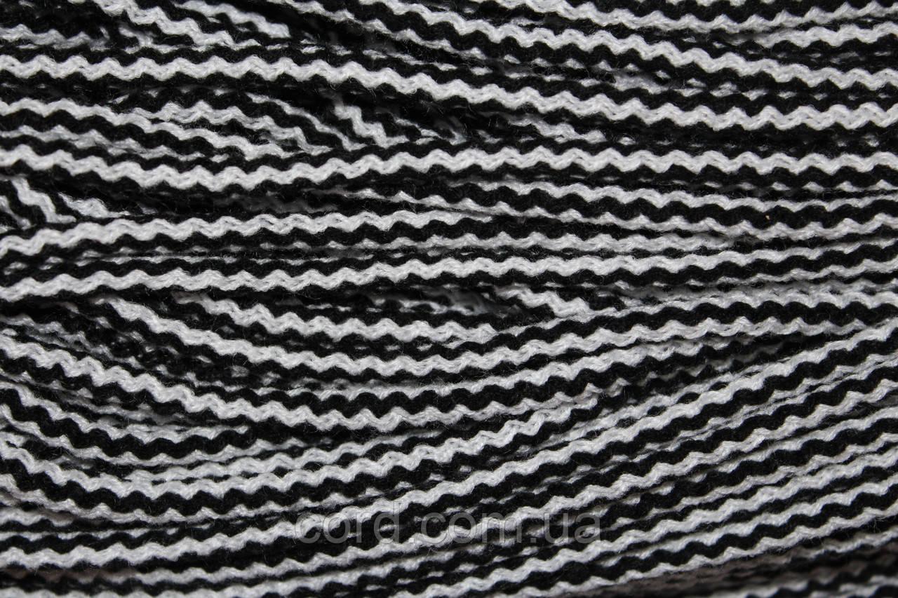 Шнур круглый 6мм акрил 100м черный + белый