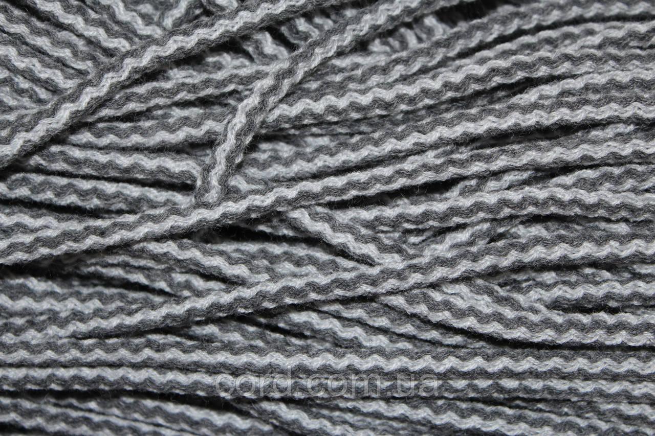 Шнур круглый 6мм акрил 100м серый + темно серый