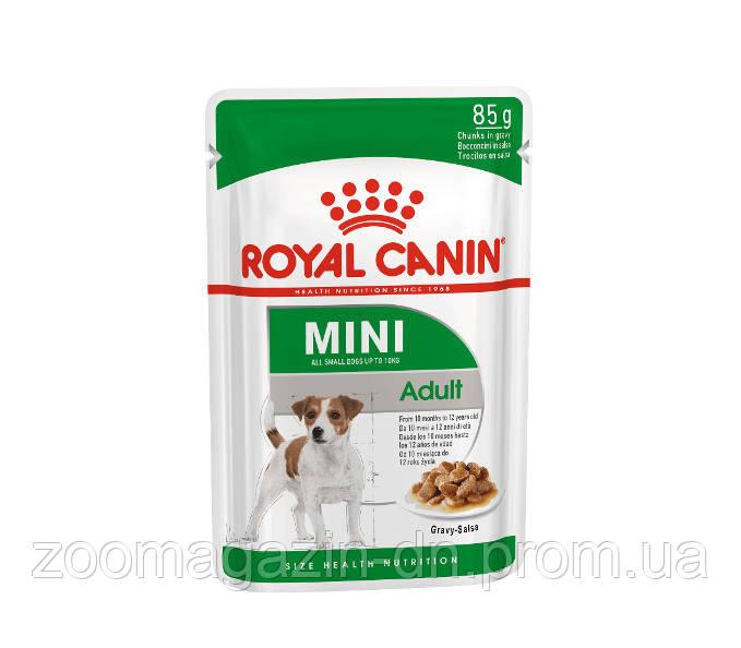 ROYAL CANIN MINI ADULT (СОУС) ВЛАЖНЫЙ корм для взрослых собак мелких размеров (4-10кг, 10мес-12лет), 85г