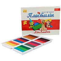 """Пластилин """"Тетрада - Ліпландія/Пластіленд"""" 18 цветов 360 грамм"""
