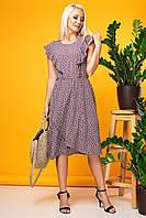 Летнее светло-коричневое платье без рукавов с асимметричным низом. С воланами-крыльями.В горошек