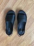 Босоніжки жіночі шкіряні чорні, фото 7