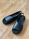 Босоніжки жіночі шкіряні чорні, фото 3