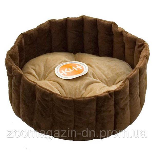 K&H Lazy Cup мягкий лежак для собак и котов , желто-коричневый/кофейный , S, 40,5х40,5х18 см