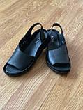 Босоніжки жіночі шкіряні чорні, фото 4
