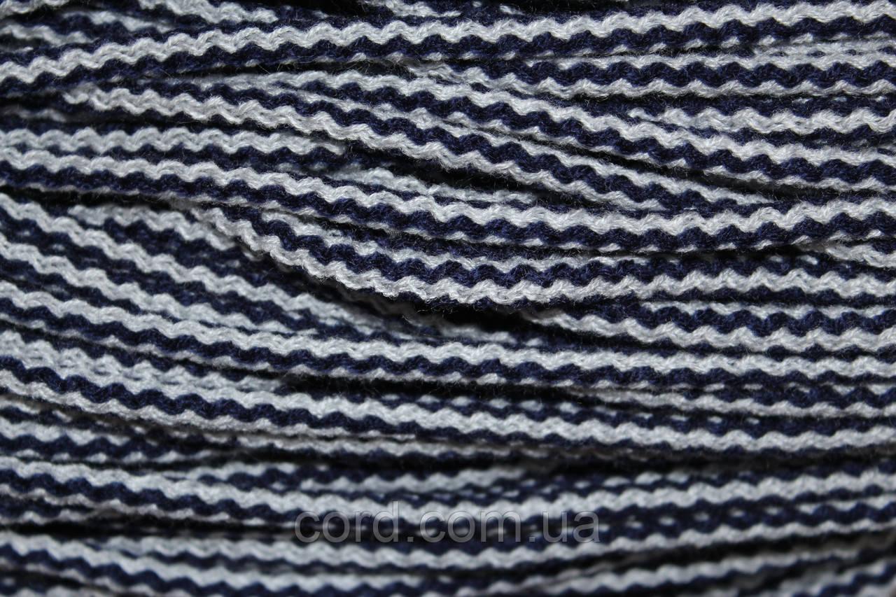 Шнур круглый 6мм акрил 100м темно синий + серый