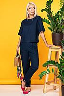 Женский льняной темно-синий костюм (топ и брюки), свободный,летний. Футболка и штаны, простой
