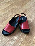 Босоніжки жіночі шкіряні червоні, фото 6