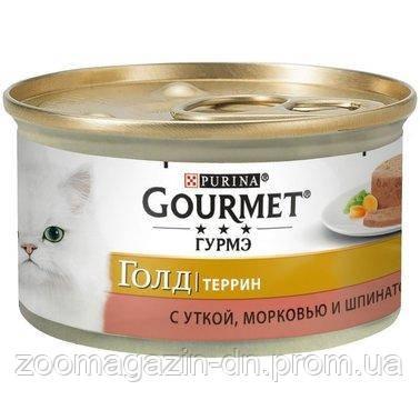 Gourmet Gold Влажный корм  с уткой, морковью и шпинатом, кусочки в паштете 85 г