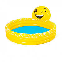 Детский надувной круглый бассейн Bestway 53081 Смайл 165 х 144 х 69 см желтый с фонтаном