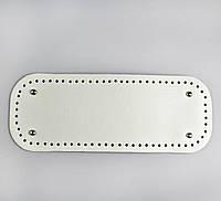 Донышко прямоугольное экокожа 12,5*33 см, Белое с ножками серебро