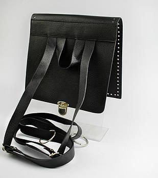 Клапан+задняя стенка для рюкзака экокожа Черный 23см с лямками фурнитура серебро