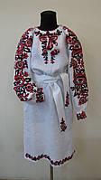 Блуза жіноча з червоно-чорною вишивкою з поясом 529/a
