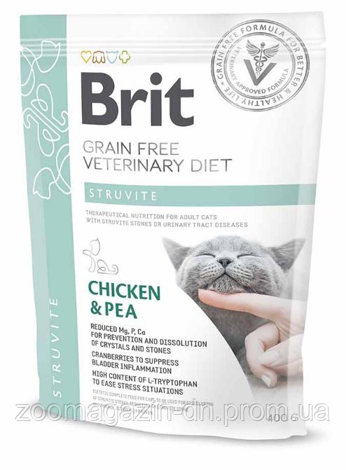 Brit GF Veterinary Diet Cat Struvite Беззерновой полнорационный сухой корм-диета курицей и горохом для лечения