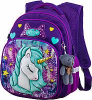 Ранец школьный рюкзак Winner One R3-222 + брелок мишка с единорогом пони детский для девочек фабричный ортопед