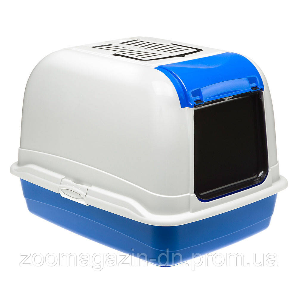 Ferplast TOILET HOME MAXI BELLA CABRIO Туалет для больших кошек со съемной крышкой  50 х 65.5 х 37 см, бело/синий