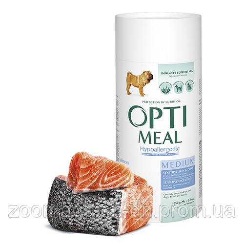 OptiMeal (Оптимил) Гипоаллергенный сухой корм для собак средних пород - лосось 0,65 кг