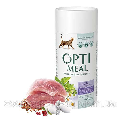 OptiMeal (Оптимил) сухой корм для кошек с эффектом выведения шерсти с уткой 0,65 кг