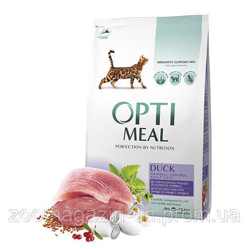 OptiMeal (Оптимил) сухой корм для кошек с эффектом выведения шерсти с уткой 4 кг