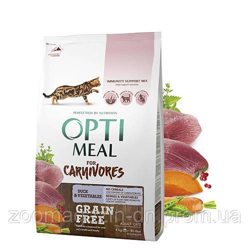 OptiMeal (Оптимил) Беззерновой сухой корм для кошек утка и овощи 4 кг