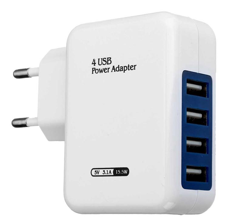 Сетевое зарядное устройство 4-port USB 3,1A 5V 15,5W (белый)