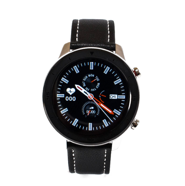 Розумні смарт годинник NO.1 DT78 Leather Band Silver-Black