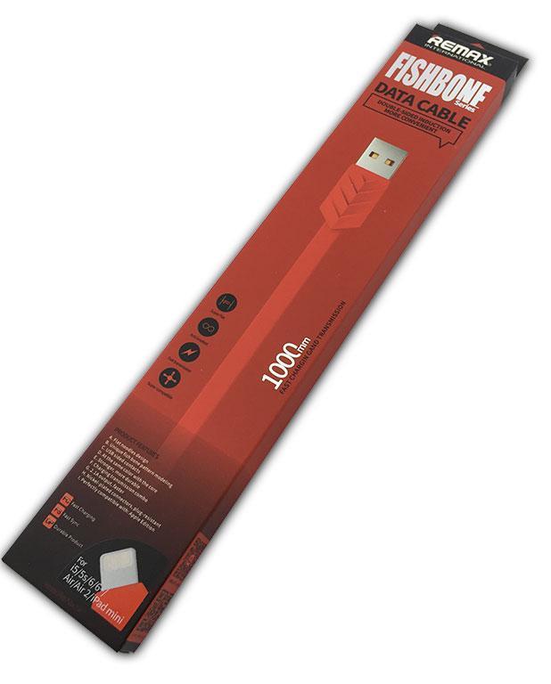 Дата кабель Remax Fishbone iPhone Lightning Red