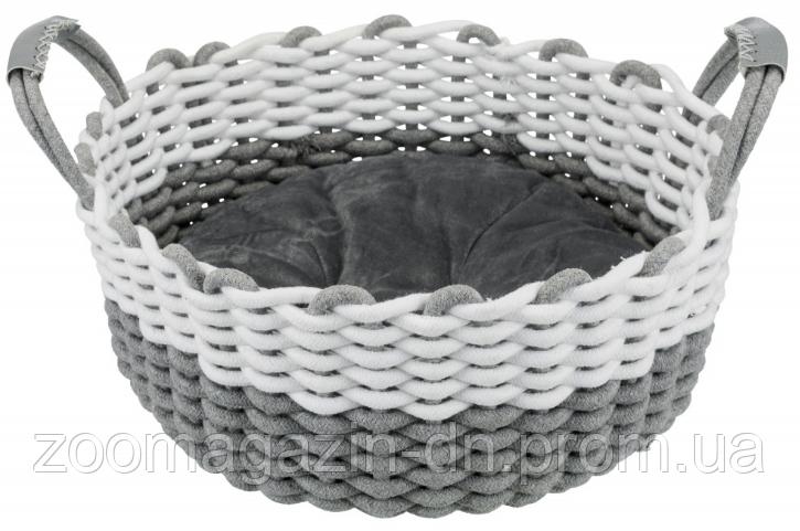 "TRIXIE корзина плетеная""Nabou""с подушкой,45см,серый/белый"