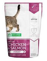 Nature's Protection WITH CHICKEN & SALMON SKIN AND COAT CARE консервированный полнорационный корм высшего качества с курицей и лососем. поддержка