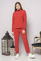 Женский красный трикотажный костюм для дома и прогулок. Гольф и штаны. Свободный, удобный.