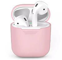 Силиконовый чехол для наушников Apple Airpods Розовый