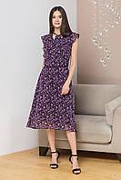 Женское летнее шифоновое платье миди, ниже колена, с воланами и галстуком. Фиолетовое в цветочек