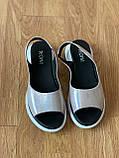 Босоніжки жіночі шкіряні срібні, фото 6
