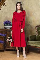 Женское платье миди,ниже колен,с оборкой и рюшами со складочками на груди.Рукава-фонарики.Красное, фото 1