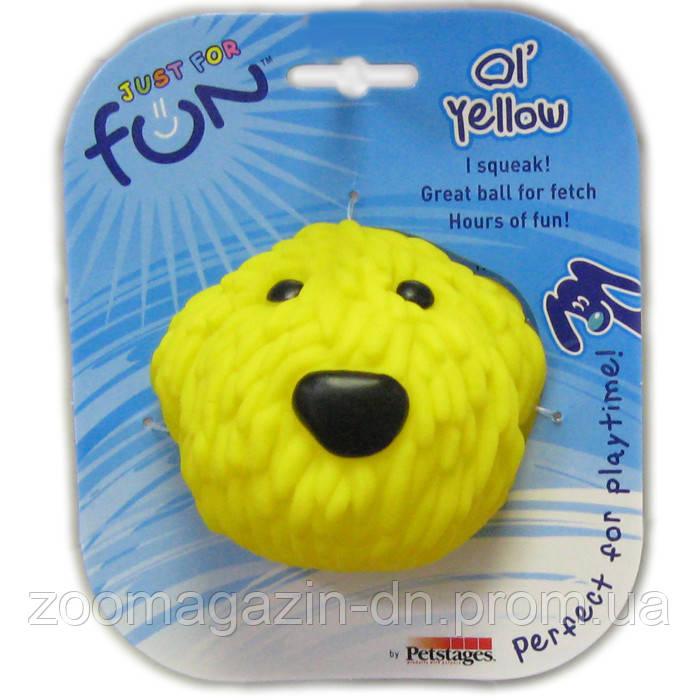 """PETSTAGES Игрушка-пищалка для средних и крупных пород собак """"Желтая собака"""" D-8 см"""
