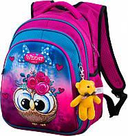 Ранец школьный рюкзак Winner One R2-162 + брелок мишка принт с совой детский для девочек фабричный ортопед