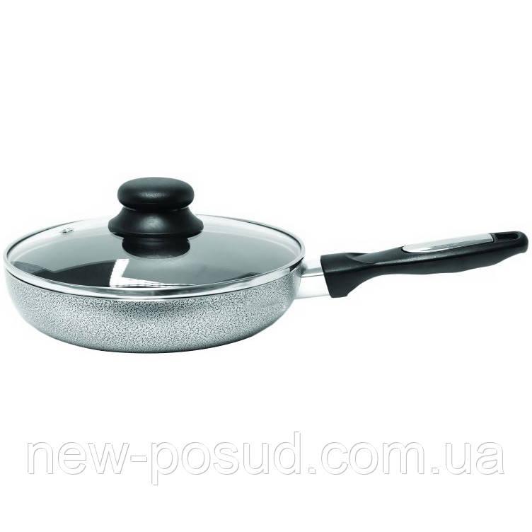Сковорода алюминиевая диам.24см с антипригарным покрытием и стеклянной крышкой Krauff 25-27-002