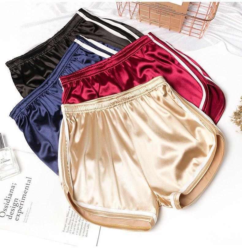 Женские атласные шорты с высокой талией