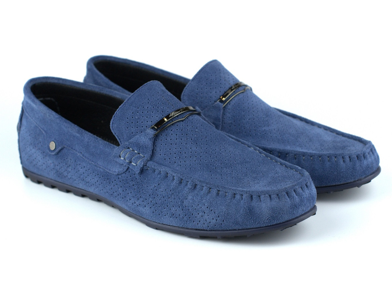 Светло-синие мокасины замшевые перфорация летняя мужская обувь Rosso Avangard ETHEREAL Sky Blu Vel