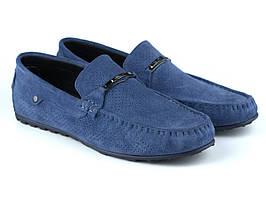 Світло-сині замшеві мокасини перфорація річна чоловіче взуття Rosso Avangard ETHEREAL Sky Blu Vel