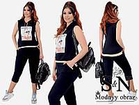 Модный женский стильный летний батальный костюм двойка: футболка с капюшоном+капри (р.48-54). Арт-2190/42
