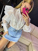 Женская блуза с пышными рукавами (2 цвета)