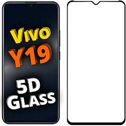 5D стекло Vivo Y19 (Защитное Full Glue) Черное (Виво У19)