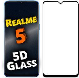 5D стекло Realme 5 (Защитное Full Glue) Черное (Реалми 5)