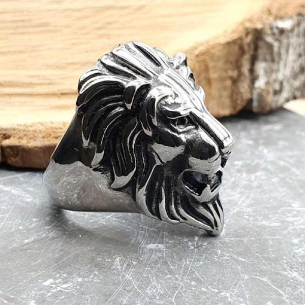 Эффектное стальное кольцо для мужчин Лев 175951