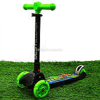 Самокат трехколесный Best Scooter с фонариком на руле, светящиеся ПУ колеса (81472)