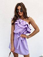 Женское летнее свободное платье с поясом и воланами фиолетовый, пудра, беж, красный 42-44 44-46