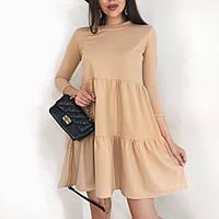 Женское летнее весенне свободное платье колокольчик короткое беж черный 42-44 46-48 креп дайвинг